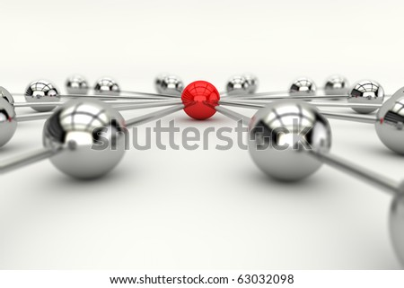 Concept of network/connection with many spheres in 3d - stock photo