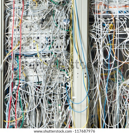Concept of  network infrastructure with cables - stock photo