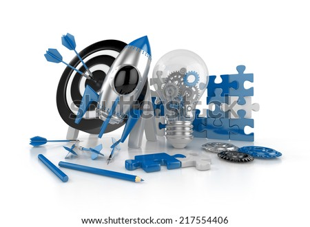 concept of new business project startup development on a market. 3d illustration - stock photo