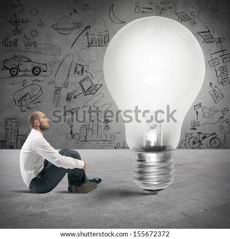 Concept of new idea of a businessman - stock photo