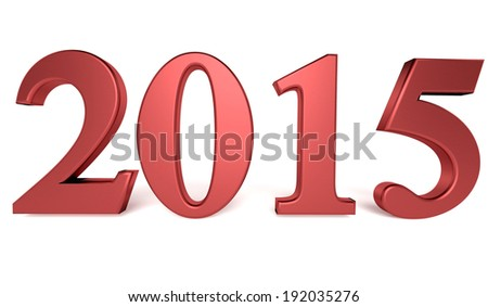 Concept of new year 2015 on the white background - stock photo