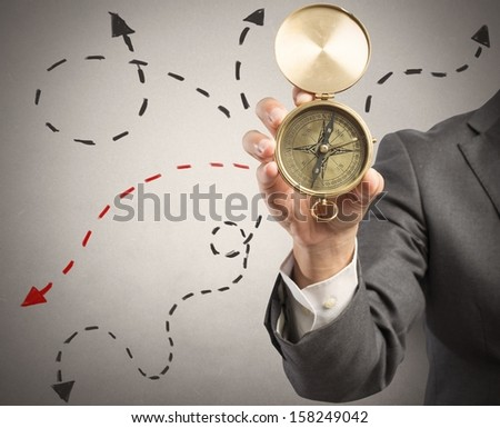 Concept of orientation in the business with businessman and compass - stock photo