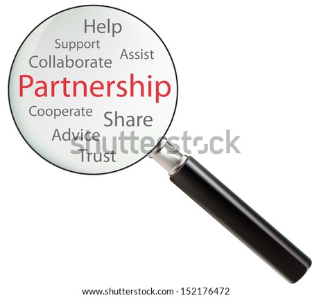 Concept of partnership consists of help, share, trust, assist, advice, support, cooperate and collaborate
