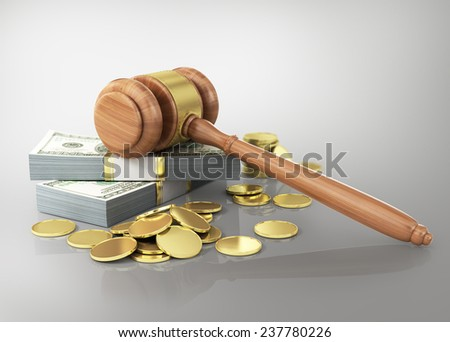 Concept of penalty. Wooden gavel and dollars with coins. - stock photo
