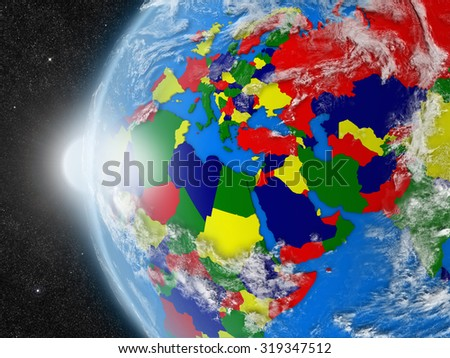 Concept of planet Earth as seen from space but with political borders aimed at EMEA region - stock photo