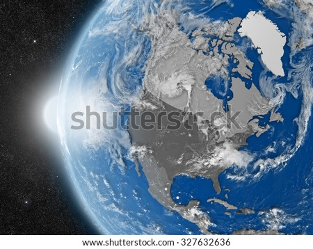 Concept of planet Earth as seen from space but with political borders aimed at north american continent