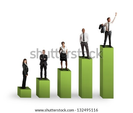 Concept of positive statistics trend of a team - stock photo