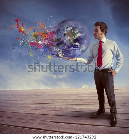 Concept of power in business. Elements of this image furnished by NASA