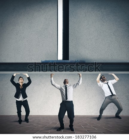 Concept of pressure and stress of a business team - stock photo