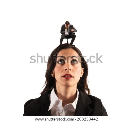 Concept of pressure with boss screaming on the megaphone - stock photo