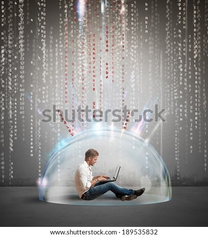 Concept of protection of antivirus and firewall concept - stock photo