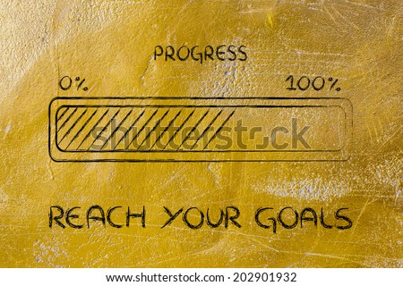 concept of reaching your goal and progressing fast, progress bar metaphor