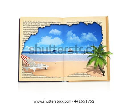 Concept of reading. Open book with picture of rest. Ocean, sky and beach with palm tree and sunbed. Concept of vacation  isolated on white background.  - stock photo