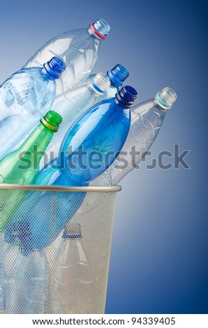 Concept of recycling with plastic bottles - stock photo