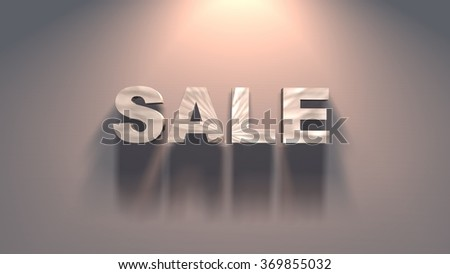Concept of sale - 3d sale text illuminated with spotlight