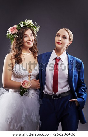 Concept of same-sex marriage. Happy newlyweds - stock photo