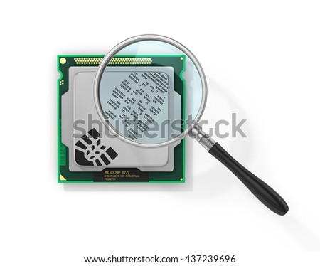 Concept of secure information. Magnifier over processor with boot print in form of binary code in field of view magnifying glass. Find the hacker. 3d illustration