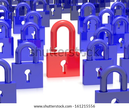 Concept of security breach, one unlocked pad lock in red - stock photo