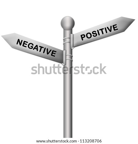 Concept of Selection Present By Silver Metallic Street Sign Pointing to Positive and Negative Isolated On White Background - stock photo