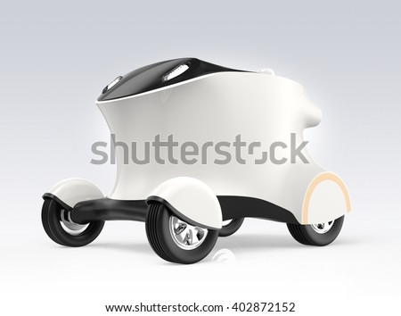 Concept of self-driving delivery robot car. The robot can carry pizza, hamburger without driver. Copy space in body available. 3D rendering image with clipping path. Original design. - stock photo