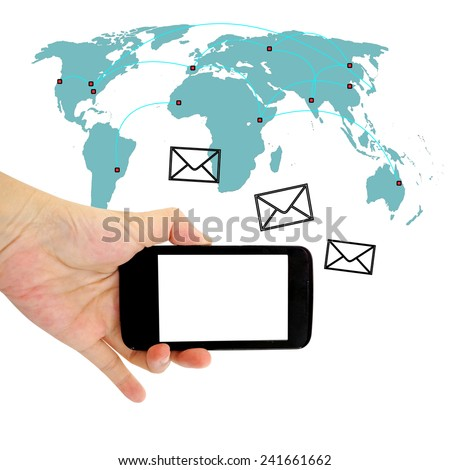 Concept of sending message wireless using smartphone - stock photo