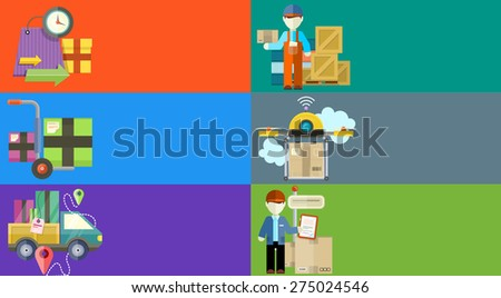 Concept of services in delivery goods. Online shopping and worldwide shipping. Can be used for web banners, marketing and promotional materials, presentation templates. Raster version - stock photo