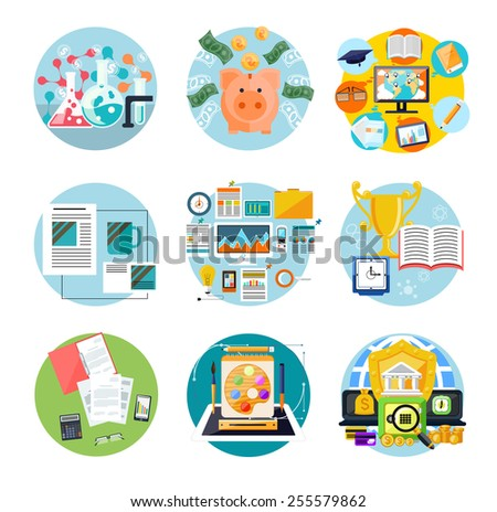 Concept of set generating money banners financial alchemy, education, graphic design, brand design, internet banking, idea work and education online in flat design. Raster version - stock photo