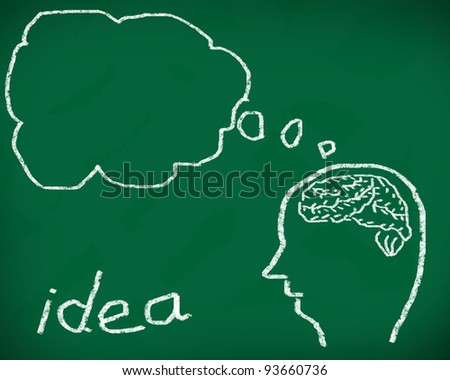 Concept of six ability in human brain. Graph with colorful chart on blackboard - stock photo