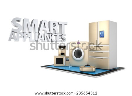 Concept of smart kitchen appliances control by tablet PC - stock photo
