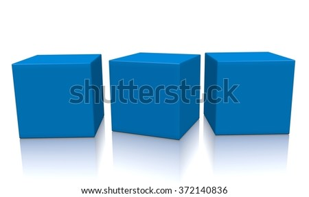 Concept of some blue boxes isolated on a white background.