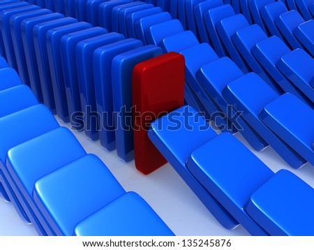 Concept of stability. The concept of stability, expressed as exceptions to the principle of dominoes, one of the dominoes was able to fight back and stop the fall of the other in its series. - stock photo