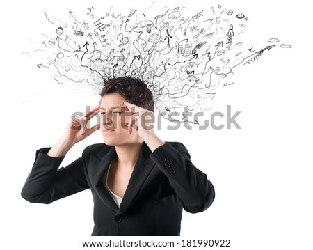 Concept of stress and confusion of a businesswoman
