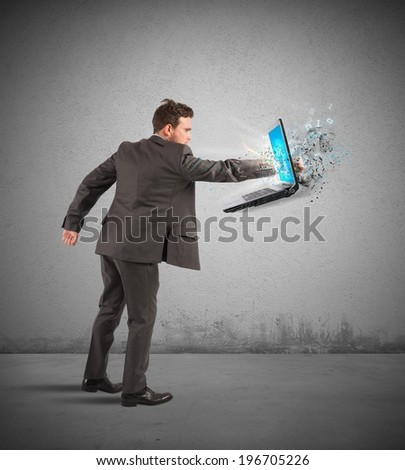 Concept of stress and frustration of a businessman - stock photo