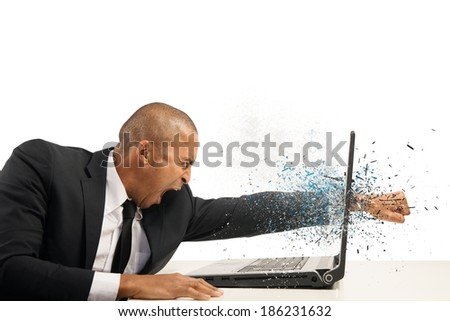 Concept of stress and frustration of a businessman with laptop - stock photo