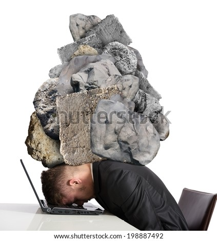 Concept of Stress at work with rocks above the head - stock photo