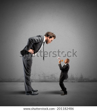 Concept of stress with Businesswoman reproaches shouting a businessman - stock photo