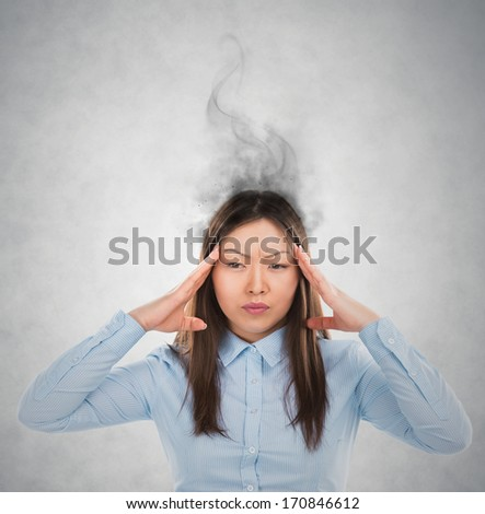 Concept of stress with businesswoman with reeky head - stock photo