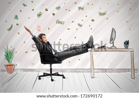 Concept of success and ambition of a winner businessman - stock photo