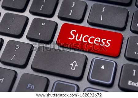 concept of success, with a message on enter key of keyboard.