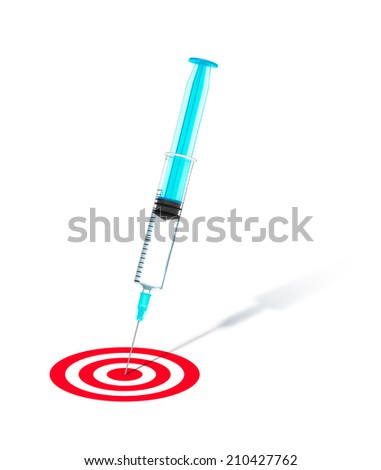 concept of successful treatment. syringe into the center of a red target on an isolated white background