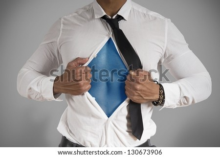 Concept of super hero in the business - stock photo