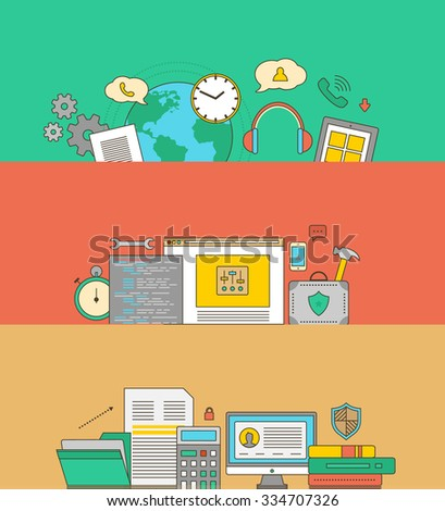 Concept of support and warranty service. Maintenance guarantee, call technical center, consultant and helpline, assistance and supply, feedback and consultation illustration. Raster version - stock photo