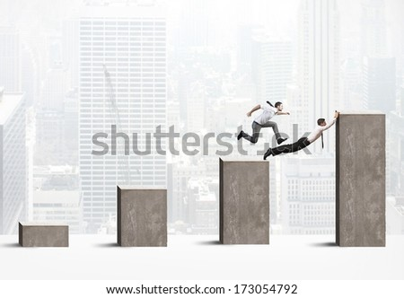Concept of teamwork and partnership on business work - stock photo