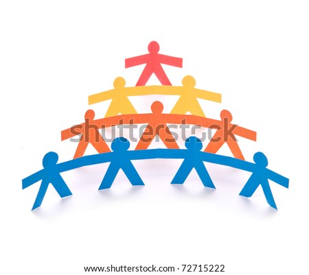 Concept of teamwork, colorful paper dolls on white background - stock photo