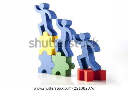 concept of teamwork, people and icons - stock photo