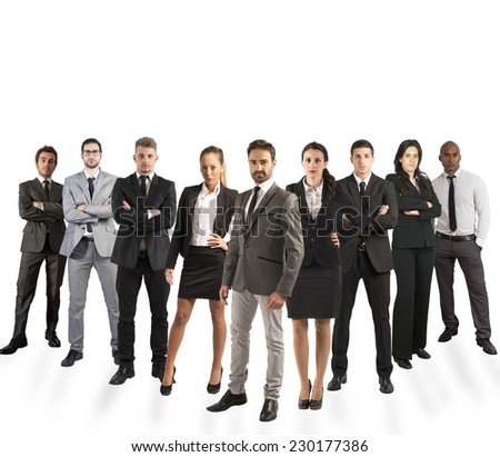 Concept of teamwork with company team on white background - stock photo
