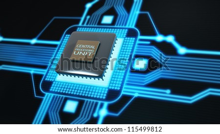 Concept of technology background. Central Processing Unit. (microchip)  High resolution 3d render - stock photo