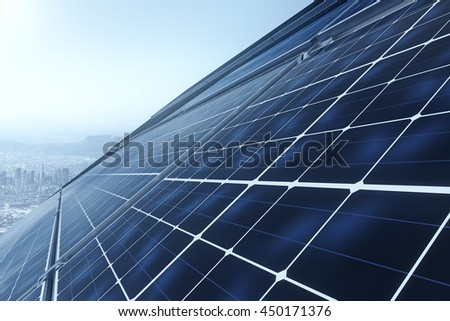 Concept of technology innovations in energy sector. 3D Rendering of solar panels against blue sky. Power plant using renewable solar energy - stock photo