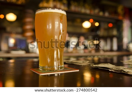 Concept of the cost of craft beers at a Oregon microbrew pub - stock photo