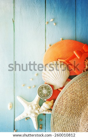 Concept of the summer time with fish star and sea shells on the wooden blue background - stock photo